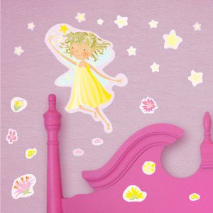 Yellow fairy with stars wall stickers