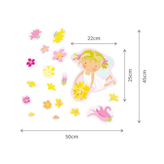White Fairy and Flowers Wall Decals