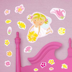 White fairy with stars wall stickers