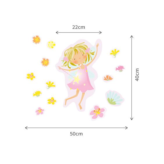 Pink Fairy and Flowers Wall Decals