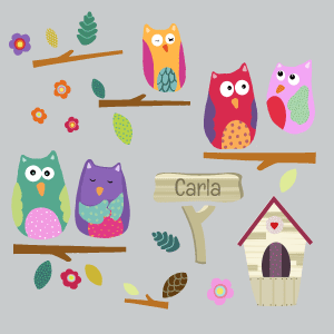 Personalised owls on branches and nest wall stickers