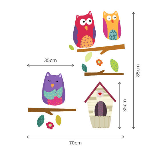 Owls, Branches and Nest 2 Wall Decals