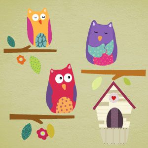 Owls on branches and nest wall stickers 3