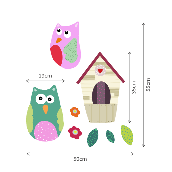 Owls and Nest Wall Decals