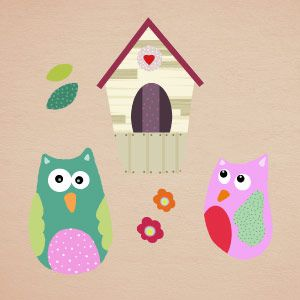 Owls on branches and nest wall stickers