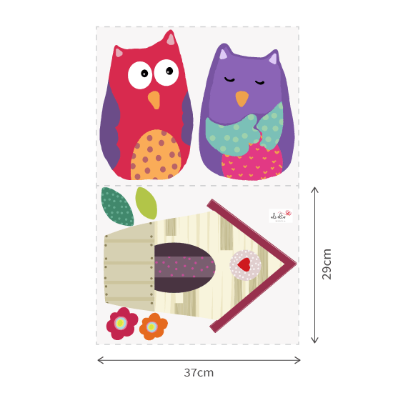 Owls and Nest 2 Wall Decals