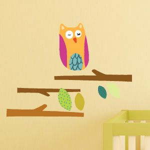Owls in the forest wall stickers
