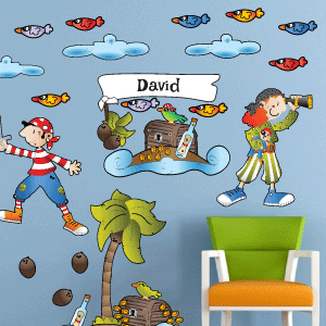 Personalised treasure island with pirates wall stickerss