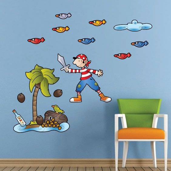 Pirate Boy in the Island Wall Decal