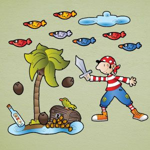 Pirate in the island wall stickers