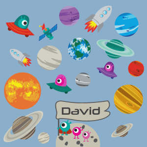 Personizable Planets and Space Rocket Wall Decal