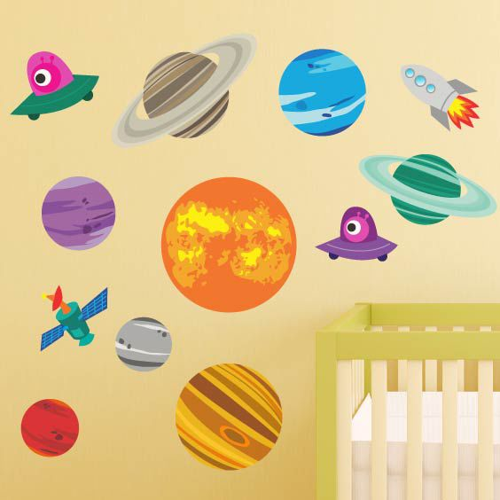 Planets and Space Rocket Wall Decal 3