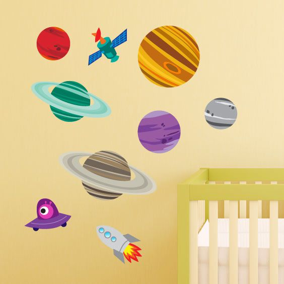 Planets and Space Rocket Wall Decal 2