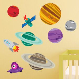 Planets and rocket wall stickers 2