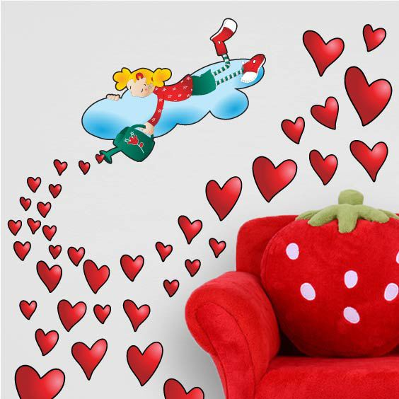 Raining Hearts Wall Decal