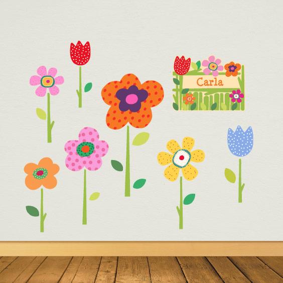 Vinil de flors de primavera personalitzable