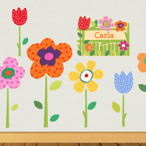 Personalised spring flowers wall stickers