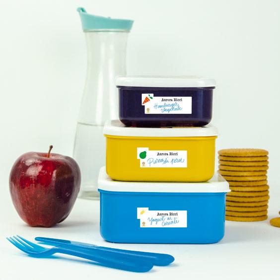 Etichette tupperware da  scrivere con alimenti