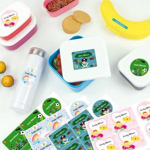 Tematické štítky na lahve a krabičky na oběd