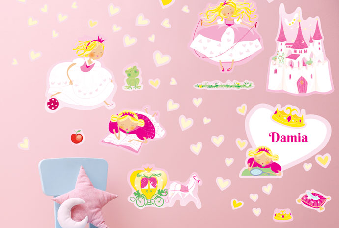 Princesses and castle wall stickers