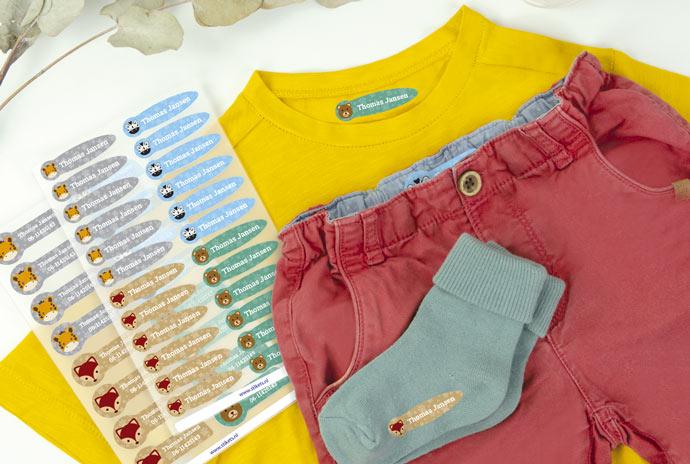 Thematische kleine naamlabels voor kleding