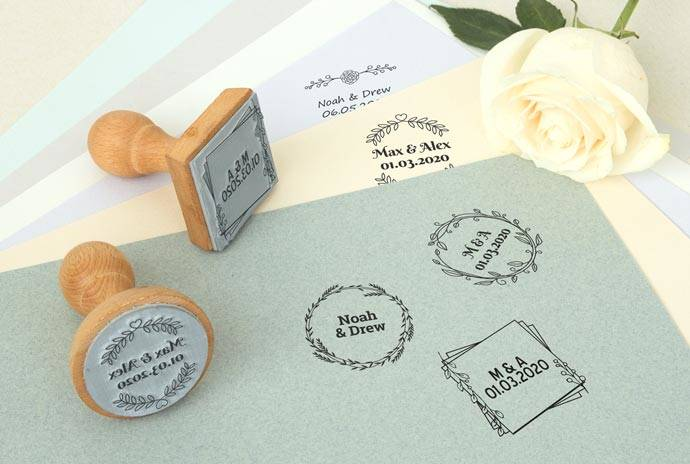 Details Banner Custom Wooden Wedding Stamps
