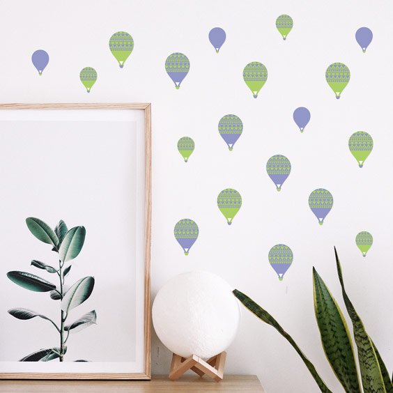 Green balloons wall stickers