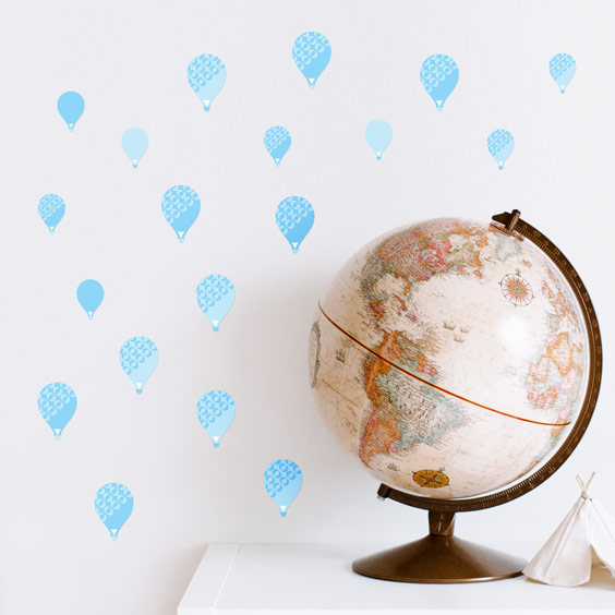 Blue balloons wall stickers