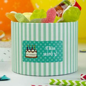 Rechteckige Aufkleber für Geburtstage