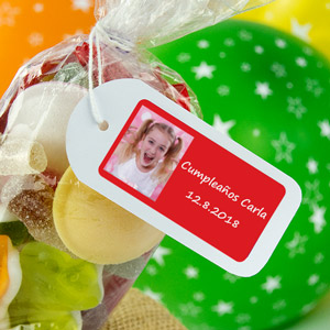 Rectangular labels with photo and frame for birthdays
