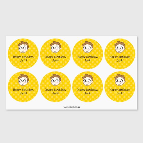 Round labels for birthdays