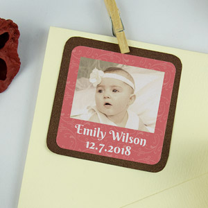 Square Baptism Favour Photo Stickers