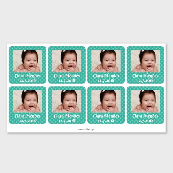 Etiquetas quadradas com foto e moldura para bautizados