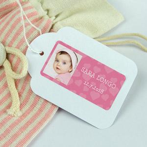 Etichette rettangolari per battesimi con foto e cornice