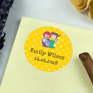 Round Baptism Favour Stickers