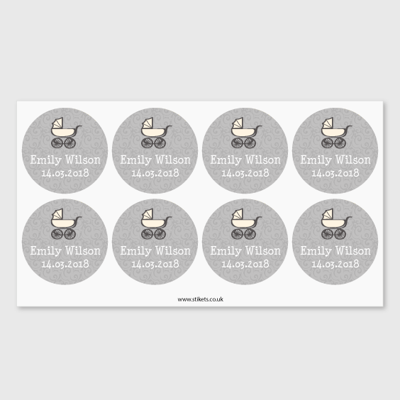 Round labels for baptisms