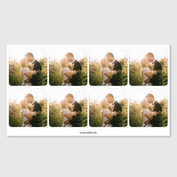 Quadratische Aufkleber mit Foto für Hochzeiten