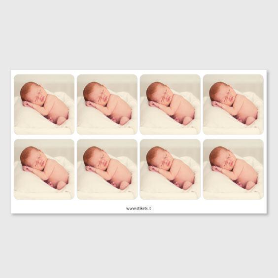 Etichette quadrate per battesimi con foto