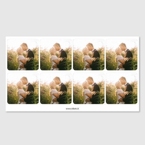 Etichette quadrate per matrimoni con foto