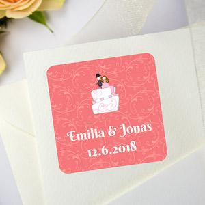 Quadratische Aufkleber für Hochzeiten
