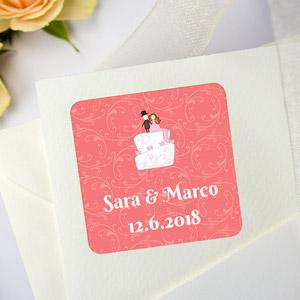 Etichette quadrate per matrimoni