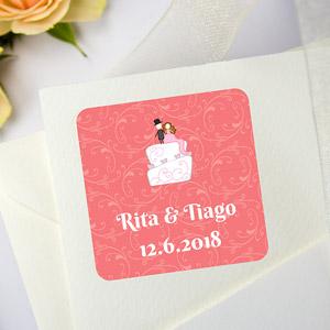 Etiquetas quadradas para casamentos