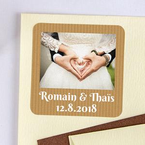 Etiquette mariage carrée avec photo et cadre