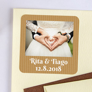 Etiquetas quadradas com foto e moldura para Casamento