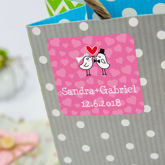Square labels for weddings