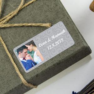 Rechteckige Aufkleber mit Foto & Rahmen für Hochzeiten