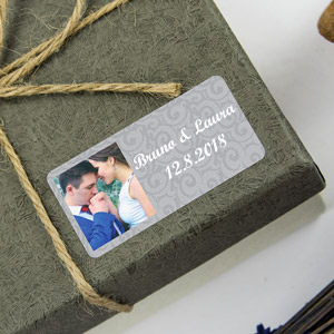 Rectangular labels with photo and frame for weddings