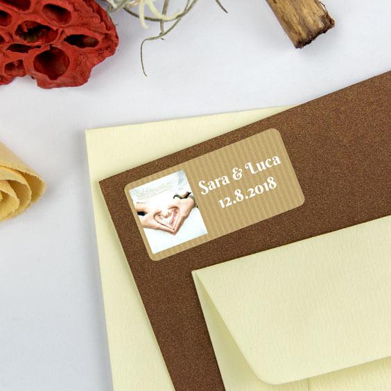 Etichette rettangolari per matrimoni con foto e cornice