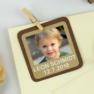 Square First Communion Favour Photo Stickers