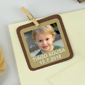 Etiquetas quadradas com foto e moldura para comunhão